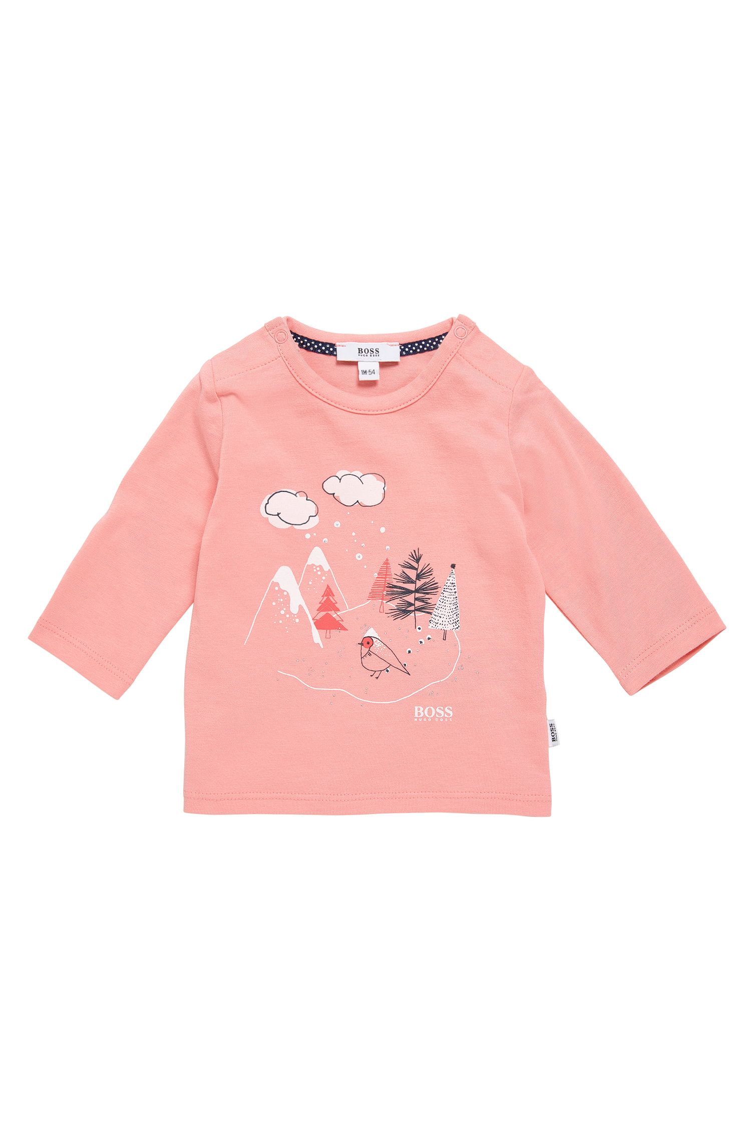 Newborns' long-sleeved printed shirt in cotton: 'J95204'