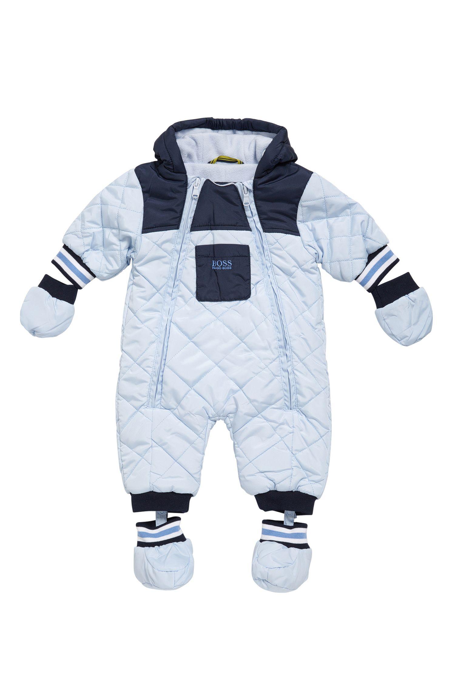 Hooded material blend overalls for newborns: 'J26282'