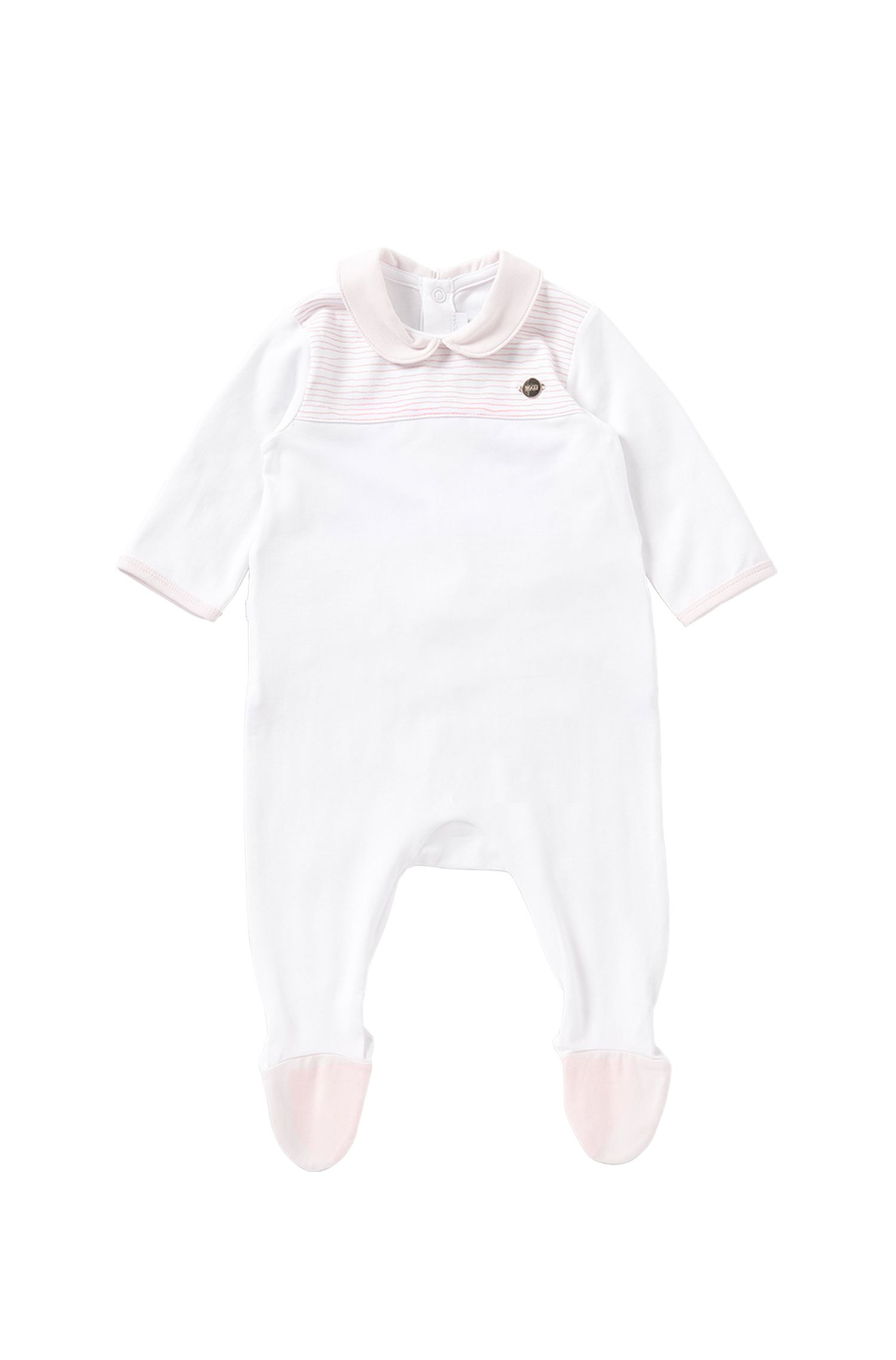 Tuta da neonato in cotone elasticizzato con dettagli a righe: 'J97102'