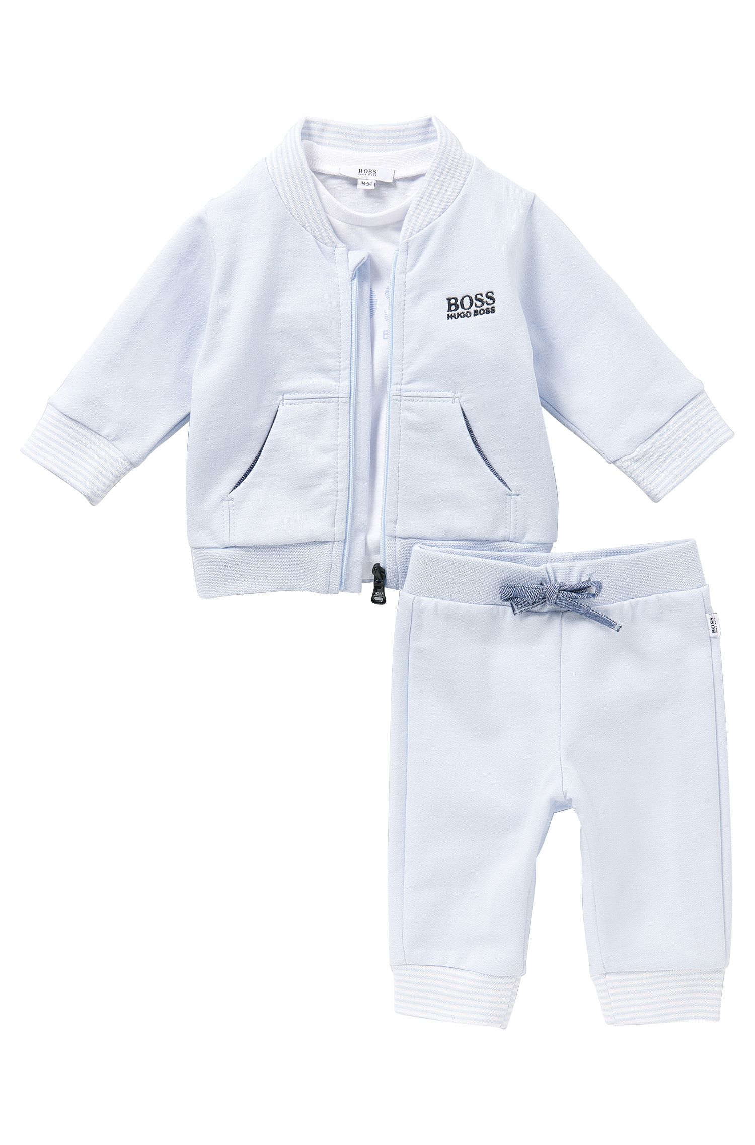 Baby-Set aus Sweatshirt-Jacke, Hose und Longsleeve: 'J98132'
