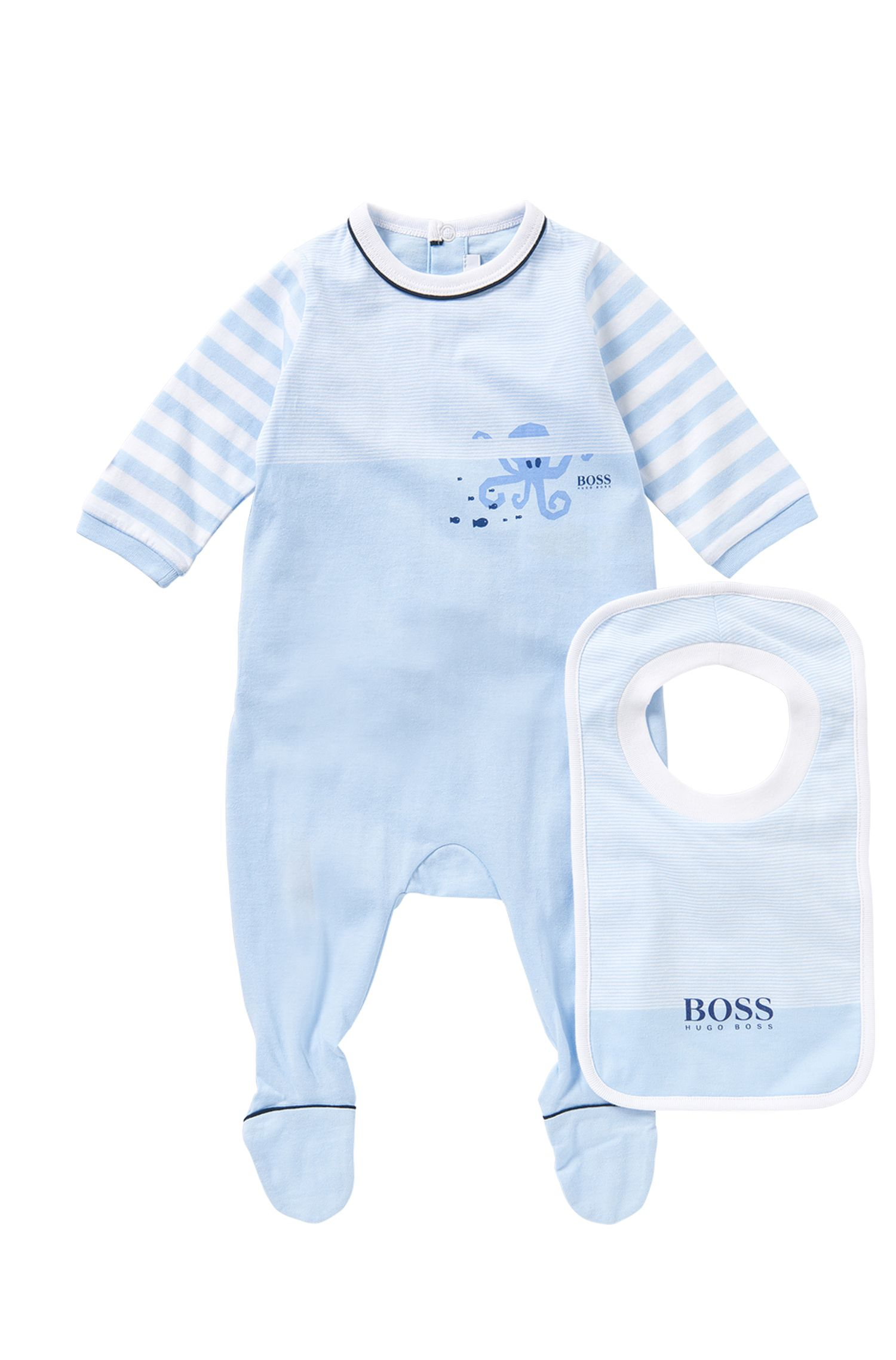 Set consisting of a bodysuit and bib in stretch cotton: 'J98147'