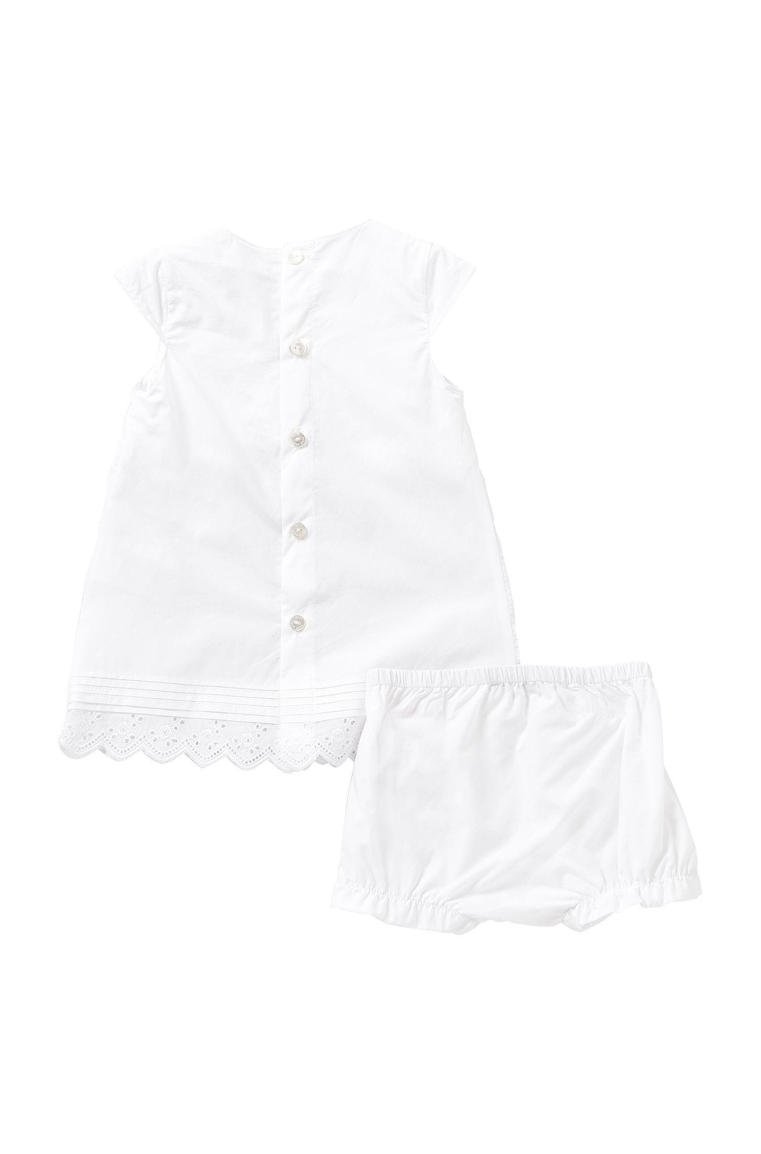 Unifarbenes Baby-Kleid mit Höschen aus Baumwolle: 'J98154'