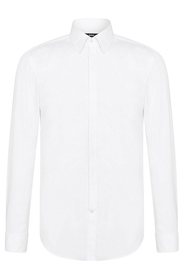 'Ilias' | Slim Fit, Point Collar Easy Iron French Cuff Cotton Dress Shirt, White