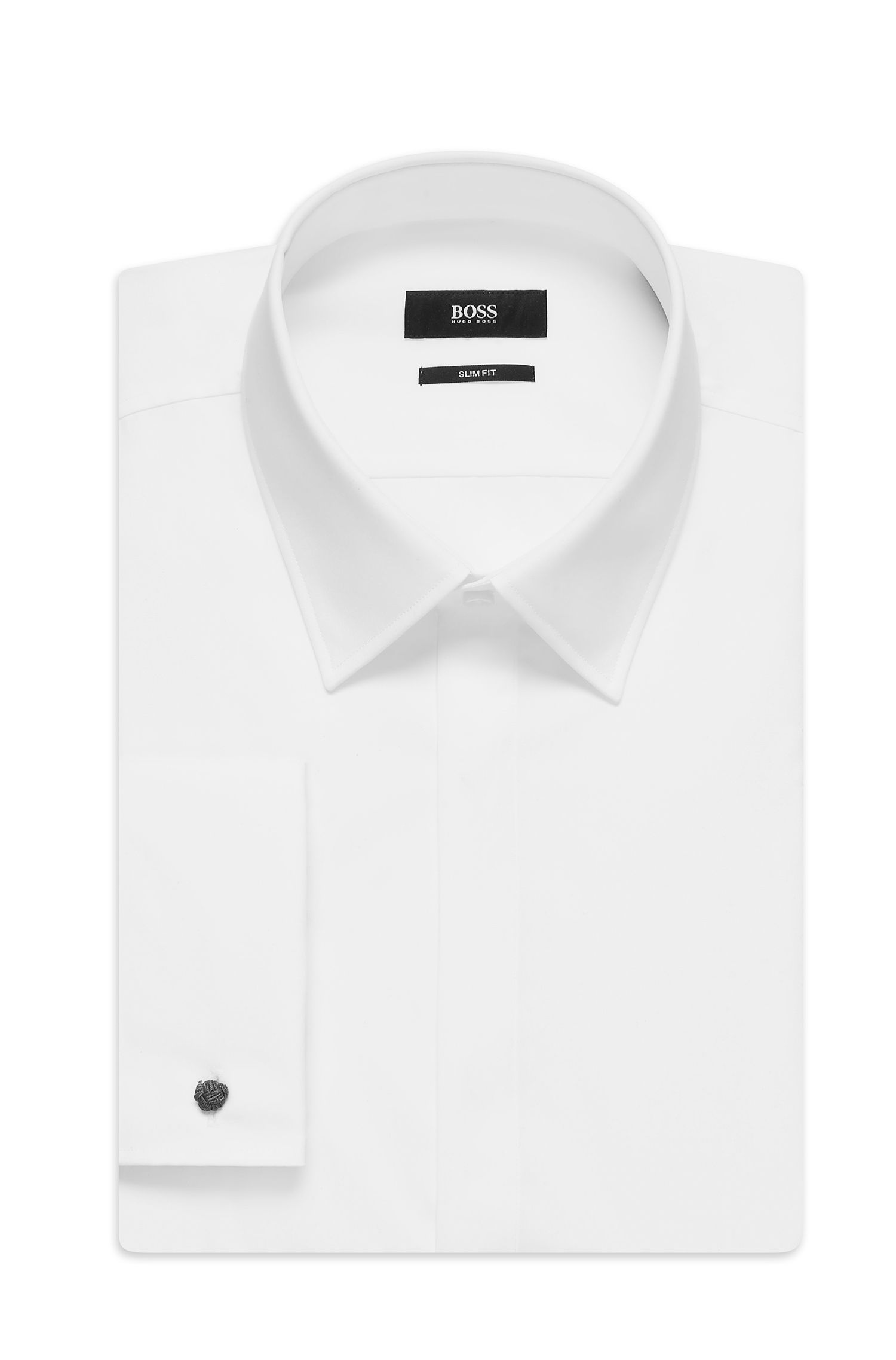 'Ilias' | Slim Fit, Point Collar Easy Iron French Cuff Cotton Dress Shirt