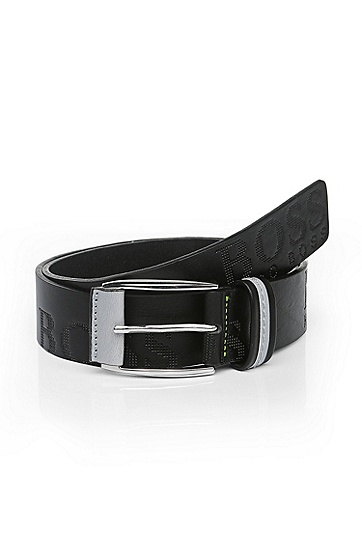 'Millow' | Italian Leather Embossed Logo Belt, Black