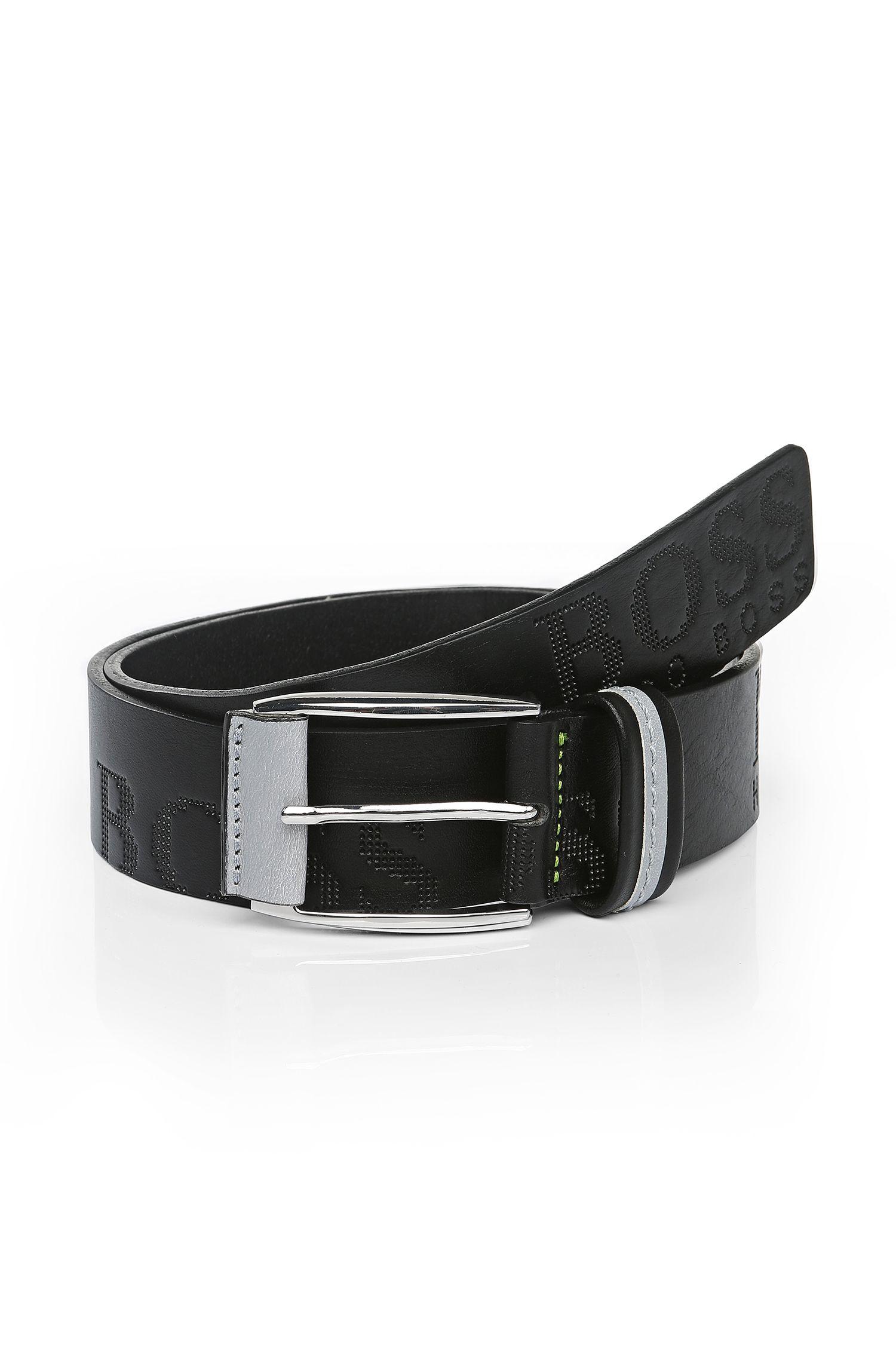 'Millow' | Italian Leather Embossed Logo Belt