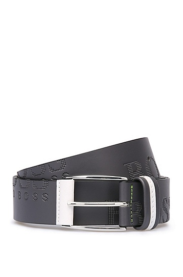 'Millow'   Italian Leather Embossed Logo Belt, Charcoal