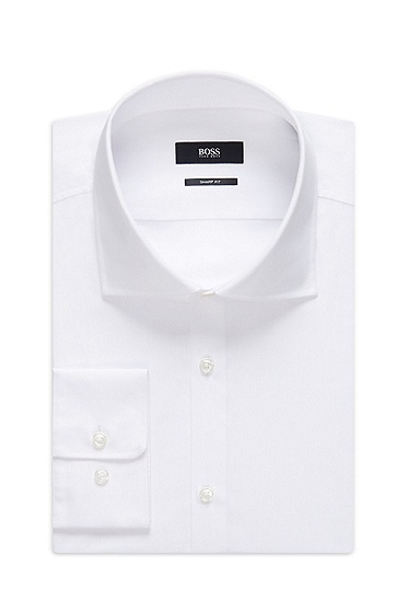 'Miles US' | Sharp Fit, Spread Collar Cotton Dress Shirt, White