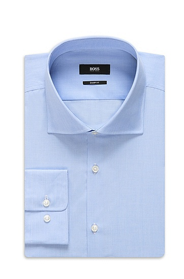 'Miles US' | Sharp Fit, Spread Collar Cotton Dress Shirt, Blue