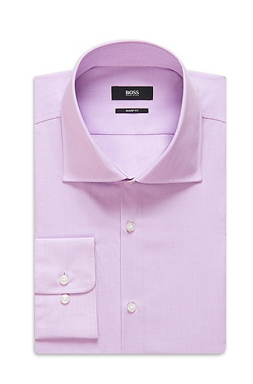 'Miles US' | Sharp Fit, Spread Collar Cotton Dress Shirt, Light Purple