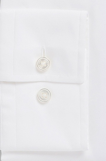 'Jaron' | Slim Fit, Spread Collar Italian Stretch Cotton Dress Shirt, White