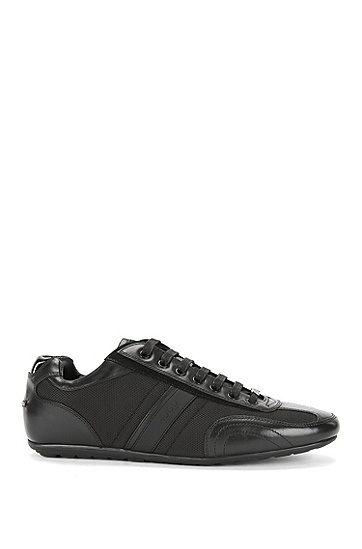 'Thatoz' | Nylon and Leather Sneakers, Black