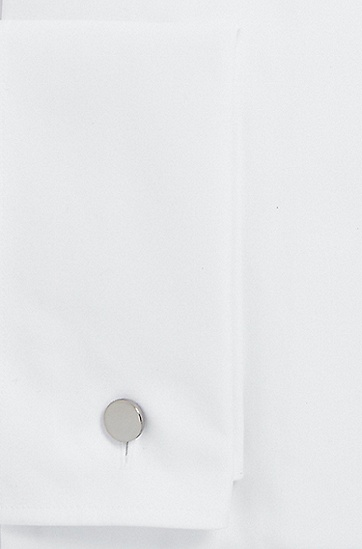 'Jacco US' | Slim Fit, Spread Collar Cotton French Cuff Dress Shirt, White