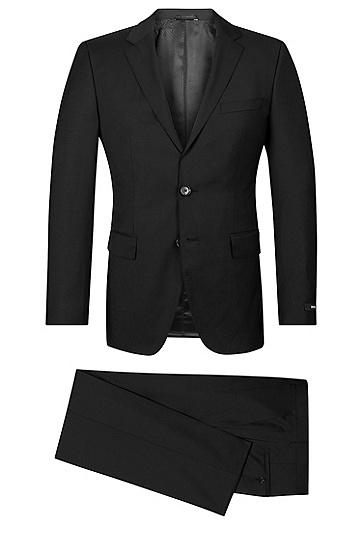 'The James/Sharp' | Regular Fit, Super 120 Italian Virgin Wool Suit, Black