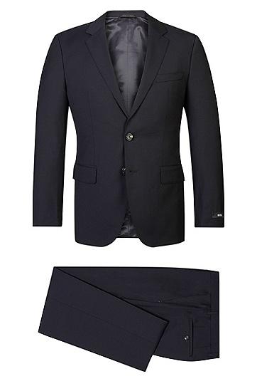 'The James/Sharp' | Regular Fit, Super 120 Italian Virgin Wool Suit, Dark Blue