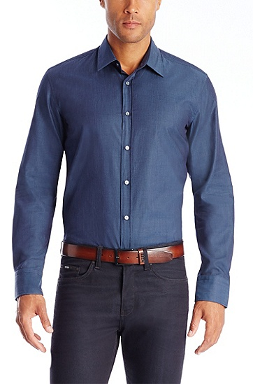 'Ronny' | Slim Fit, Cotton Button Down Shirt, Dark Blue