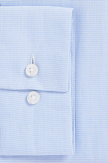 'EastonX' | Slim Fit, Modified Spread Collar Cotton Dress Shirt, Light Blue