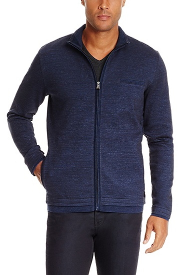 'Cannobio' | Stretch Cotton Stand Collar Sweatshirt, Dark Blue