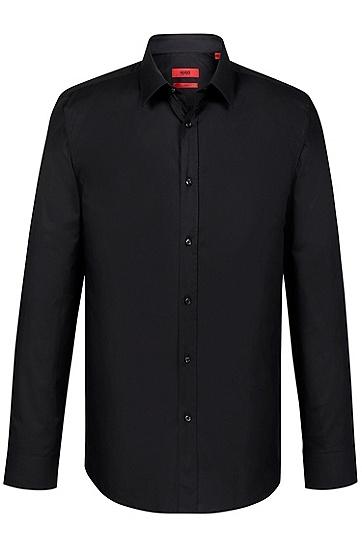 'Elisha' | Slim Fit, Point Collar Stretch Cotton Dress Shirt, Black
