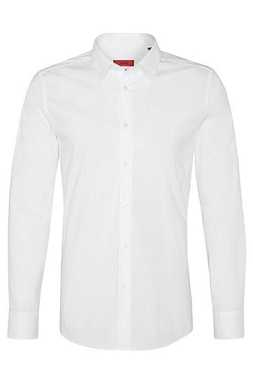 'Elisha' | Slim Fit, Point Collar Stretch Cotton Dress Shirt, Open White