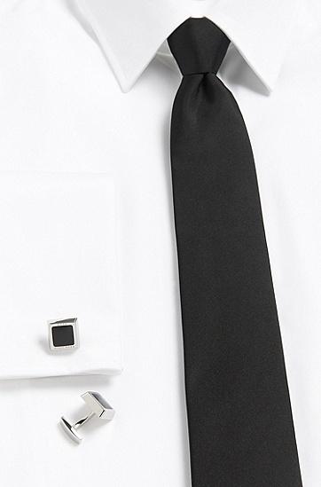 'Franzisko' | Brass & Enamel Squared Cufflinks, Black