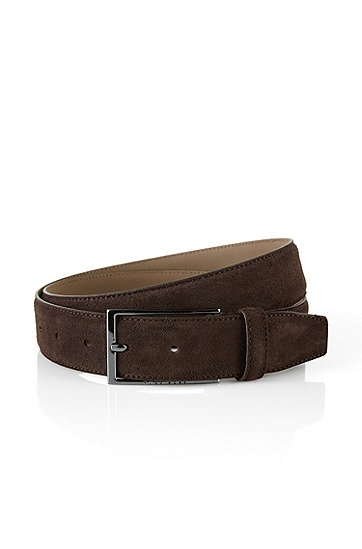 'Calindo' | Suede Belt, Dark Brown