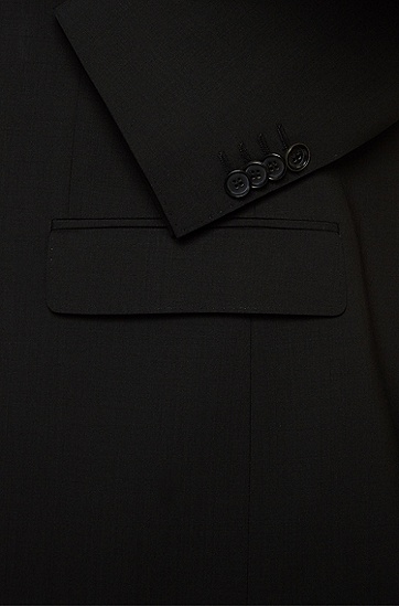 'Huge/Genius' | Slim Fit, Stretch Virgin Wool Suit, Black