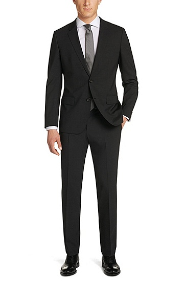 'Huge/Genius' | Slim Fit, Stretch Virgin Wool Suit, Dark Grey