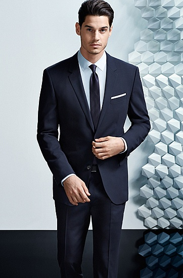 'Huge/Genius' | Slim Fit, Stretch Virgin Wool Suit, Dark Blue