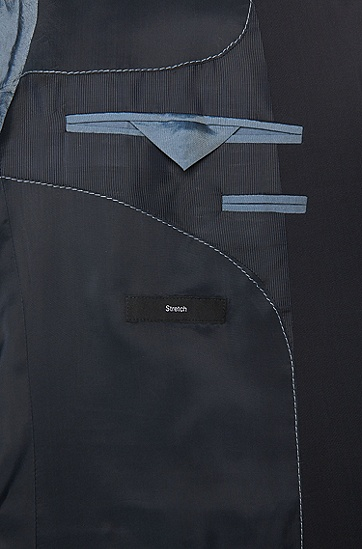 'Huge/Genius' | Slim Fit, Stretch Virgin Wool Suit, Dark Blue