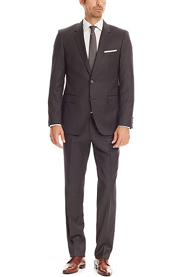 'The James/Sharp' | Regular Fit, Super 100 Virgin Wool Suit, Dark Grey