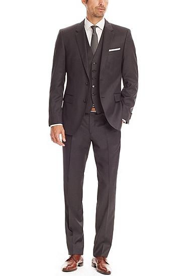'The James/Sharp' | Regular Fit, Super 100 Virgin Wool Suit, Dark Grey