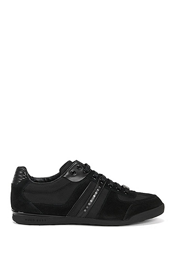 'Akeen' | Leather and Suede Sneakers, Black