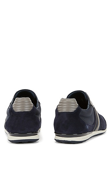 'Akeen' | Leather and Suede Sneakers, Open Blue