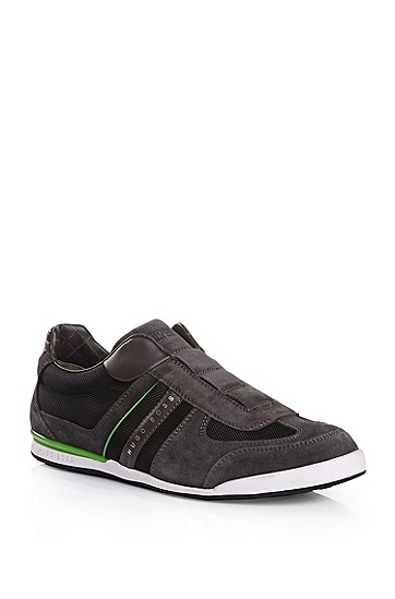 'Akeen' | Suede and Faux Leather Sneakers, Dark Grey