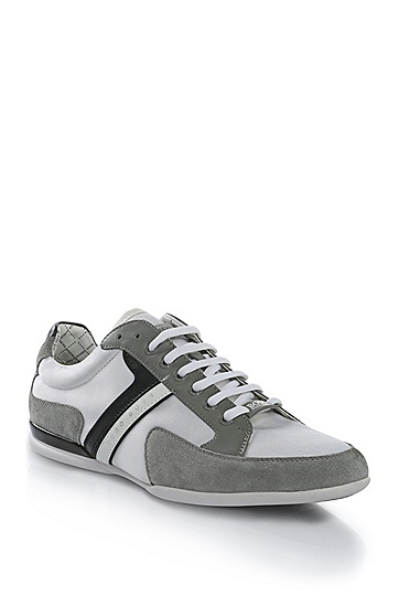 'Spacit' | Leather and Suede Sneakers, Light Grey