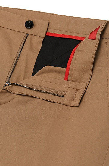 'Heldor' | Extra Slim Fit, Stretch Cotton Pants, Light Brown