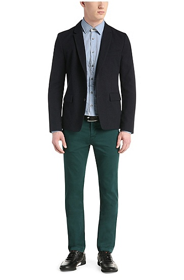 'Schino-Slim-D' | Slim Fit, Stretch Cotton Chinos, Dark Green