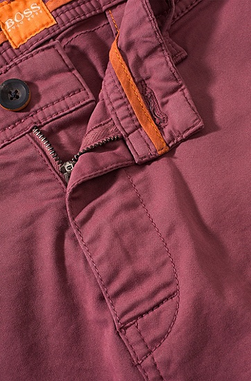 'Schino-Slim-D' | Slim Fit, Stretch Cotton Chinos, Light Red
