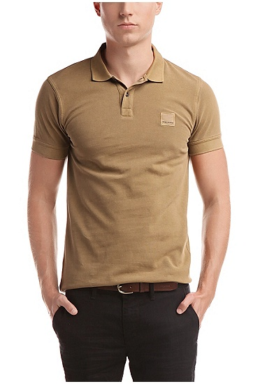 'Pascha' | Slim Fit, Cotton Polo Shirt, Beige