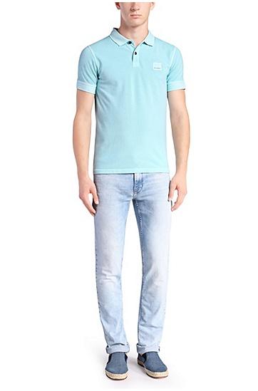 'Pascha' | Slim Fit, Cotton Polo Shirt, Blue