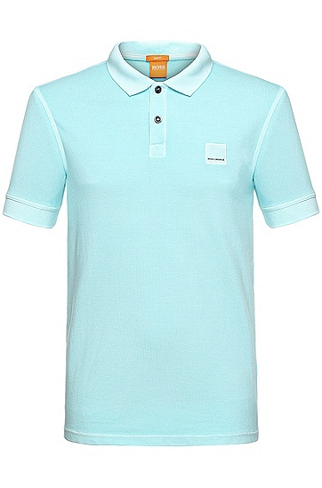 'Pascha' | Slim Fit, Cotton Polo Shirt, Blue