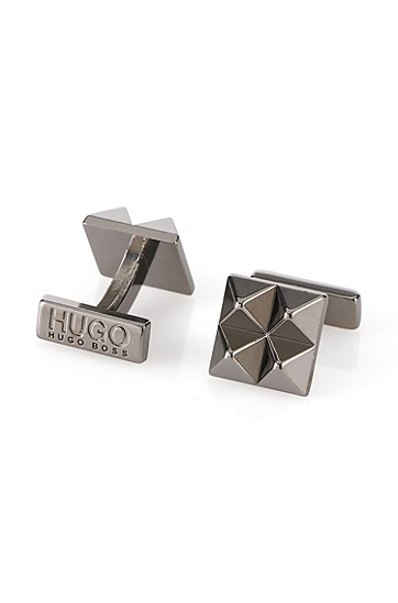 'E-Pyramid' | Brass Pyramid Cufflinks, Dark Grey