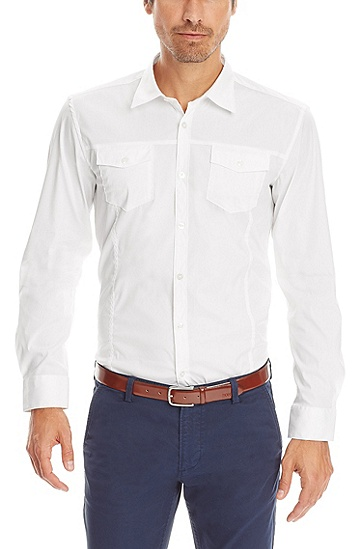 'Mirko' | Slim Fit, Stretch Cotton-Blend Button Down Shirt, White