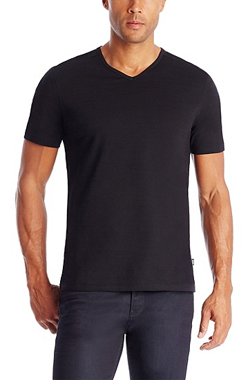 'Eraldo ' | Pima Cotton V-Neck T-Shirt, Black
