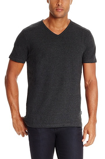 'Eraldo ' | Pima Cotton V-Neck T-Shirt, Charcoal