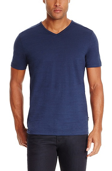 'Eraldo ' | Pima Cotton V-Neck T-Shirt, Open Blue