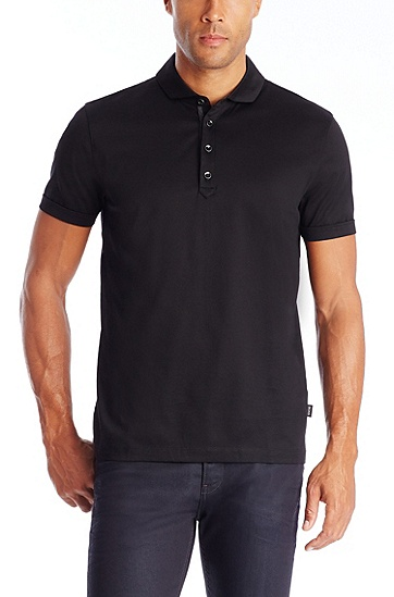 'Treviso' | Regular Fit, Cotton Polo Shirt , Black