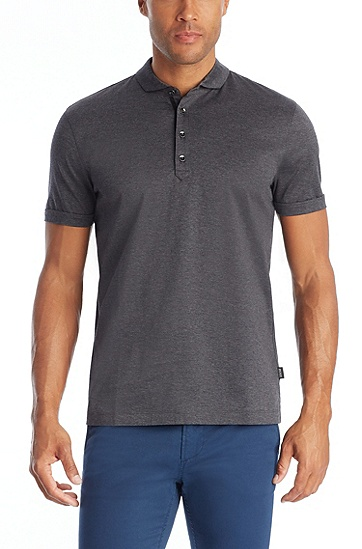 'Treviso' | Regular Fit, Cotton Polo Shirt , Charcoal