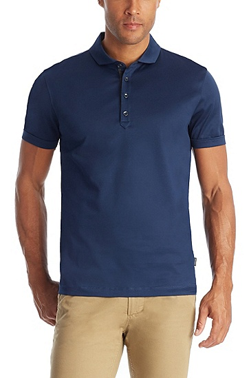 'Treviso' | Regular Fit, Cotton Polo Shirt , Open Blue